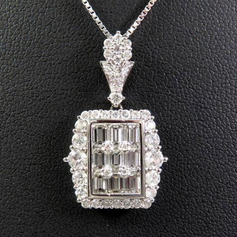 K18WG デザインダイヤモンドネックレス