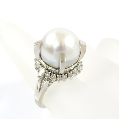 Pt900 パール 本真珠 ダイヤモンドデザインプラチナリング