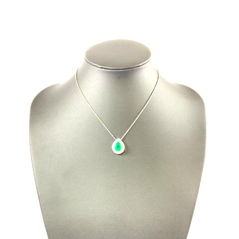 Pt900 プラチナ エメラルド ダイヤモンド デザインネックレス