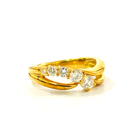 K18 750 イエローゴールド ダイヤモンド デザインリング