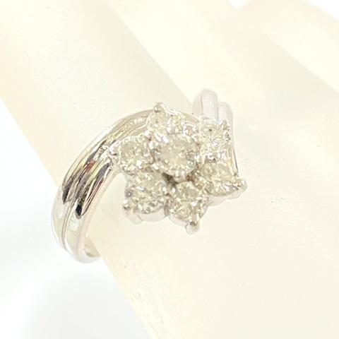 Pt900 プラチナ フラワーモチーフ ダイヤモンド デザインリング