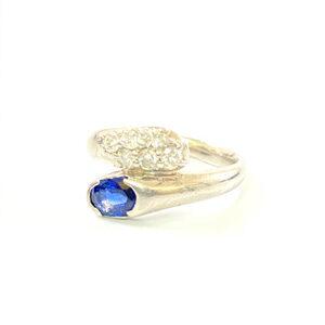 Pt900 プラチナ サファイア ダイヤモンド デザインリング