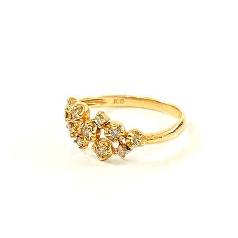 K10 10金 ダイヤモンドデザインリング 指輪 アクセサリー